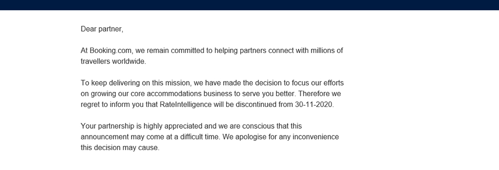 booking.com email announces the discontinuation of the RateIntelligence tool.