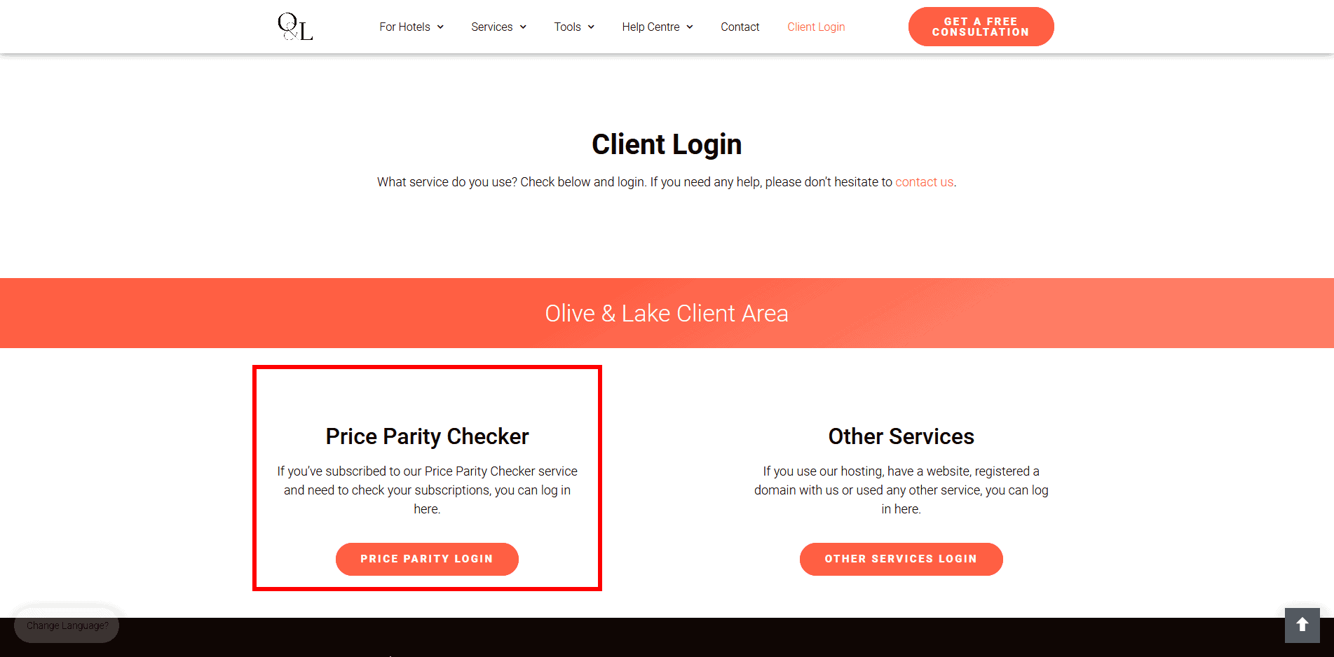 Olive and lake client login area