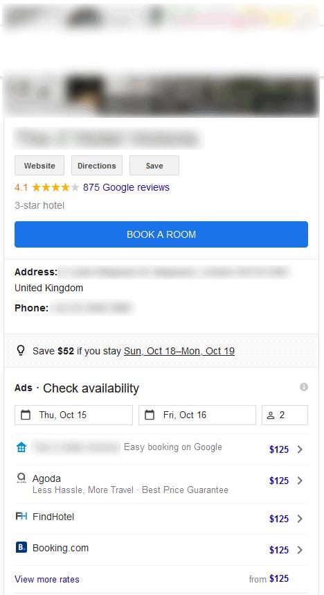 Google Hotel Details Card