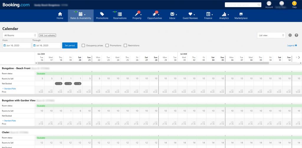 Booking.com Calendar Page