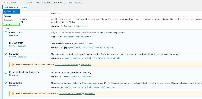 Bulk Update Plugins